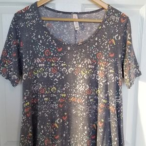 LuLaRoe Perfect T grey with coral, yellow,  mint